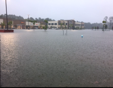 Town Center has been ravaged with water once more. The damage could be getting worse, as rain continues to fall. (Photo by Amanda Borys 9.19.19)