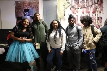 Lone Star College - Kingwood's students (right to left) Taniya Johnson, Leeandre Holmes, Yasmin Oliver, Jaylen Merritt, and Paris Fulton during campus event. The students are at LSC-Kingwood's Halloween event in the Student Conference Center. (photo by Bri Maguire 10.31.19).