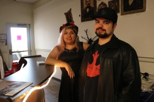 Lone Star College -Kingwood students (right to left) Ruby Carrizales and. William Herman during a student life event in the Student Conference Center. These students are dressing up for the Halloween costume contest.