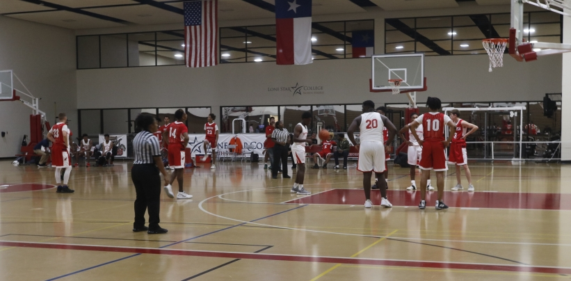 Lone Star College-Kingwood Coyotes vs. Lone Star College-North Harris Hurricanes during a basketball game. The Hurricanes are preparing for a free throw. (Katheryn Stinnett 11.1.19)
