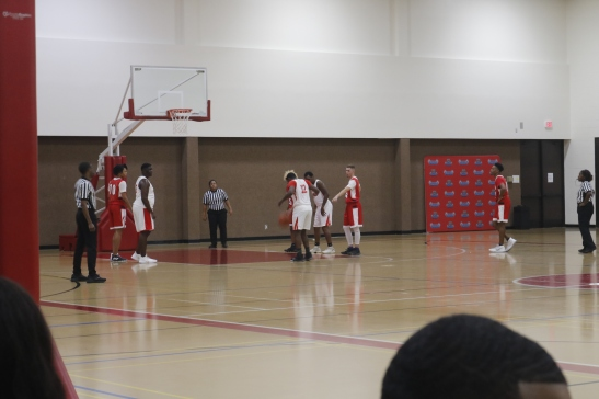 Lone Star College-Kingwood Coyotes vs Lone Star College-North Harris Hurricanes during a basketball game. The Hurricanes are in possession of the ball. (Katheryn Stinnett 11.1.19)