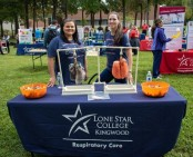 Lone Star College-Kingwood Reparative Amanda Wiggins and Samantha Zimmer for the Respiratory Care Club. These repetitive' are the president and vice president of the club. (Photo by Bri Maguire 17.10.19)