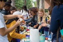 Lone Star College-Kingwood student Madelyn Cahill is painting a pumpkin during LSC-Kingwood's Oktoberfest. Madelyn is painting with her fellow students. (Photo by Bri Maguire 17.10.19)