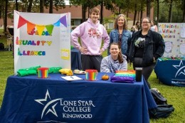 Lone Star College-Kingwood (right to left) Stephen Hunt, advisor Judith Watson, Madison Hughes and Savanna Poetry representing the Gender Sexuality Alliance is being active at the Student Life event, Oktoberfest. (Photo by Bri Maguire 17.10.19)