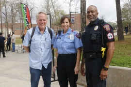 Lone Star College-Kingwood's(left to right) Joseph Nolan, PSO Sherrod, and SGT Billings during LSC-KW event. This event invites all people on campus to come participate.